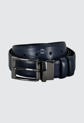 Men's Leather Navy Belt Double Sided Adjustable 130cm Long Reversible Cow Leather Belt 1002