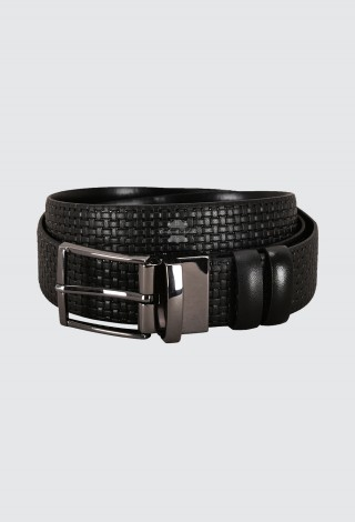 Men's Genuine Leather Belt Black Adjustable & Reversible Cow Leather Casual Belt 1002