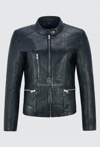 Ladies Navy Real Leather Jacket Fashion Stylish Biker Style 100% LEATHER 9213