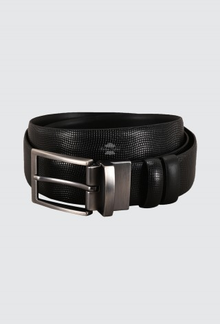 Men's Leather Belt Aniline Black Adjustable & Reversible 100% Cow Leather Belt 1002