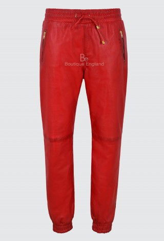 Ladies Leather Trouser Red Napa Sweat Track Pant Zip Jogging Bottom 3040