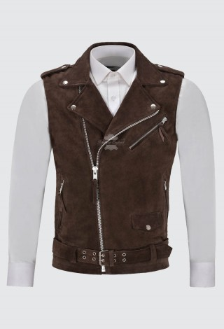 Men's Brando Brown Suede Waistcoat Motorcycle Biker Style STEAMPUNK Leather 1025