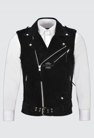 Men's Brando Black Suede Waistcoat Motorcycle Biker Style STEAMPUNK Leather 1025