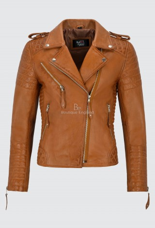 Ladies Tan Leather Jacket Classic Biker Style 100% REAL NAPA LEATHER 2260
