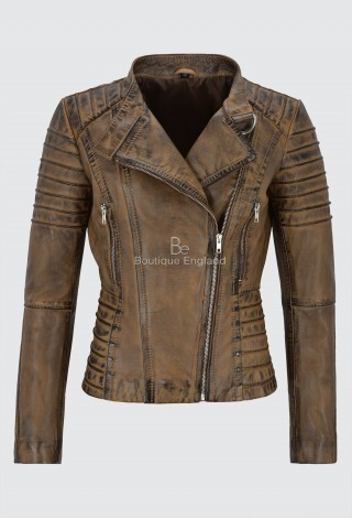Ladies Dirty Brown Leather Jacket Classic Biker Fashion Style 100% REAL NAPA LEATHER 9393