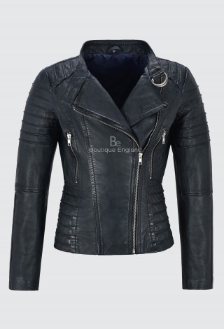 Ladies Navy Leather Jacket Classic Biker Fashion Style 100% REAL NAPA LEATHER 9393
