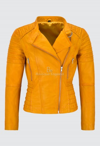 Ladies Yellow Leather Jacket Classic Biker Fashion Style 100% REAL NAPA LEATHER 9393