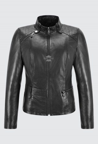 Ladies Leather Jacket Black Vega Real Napa Casual Slim Fitted Biker Jacket 7003