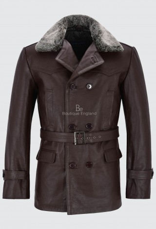 Men's German Pea Coat Brown Fur Collar Classic Military Hide Leather Jacket Dr-Who