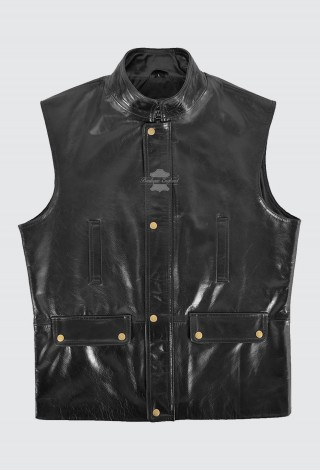 Men's Sleeveless Jacket Real Leather Black Glaze Classic REAL LEATHER Waistcoat 4657