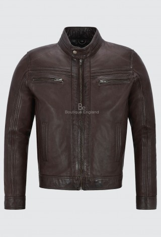 'RAGE' Men's BROWN Leather Jacket BIKER STYLE 100% Leather FASHION Biker 7862