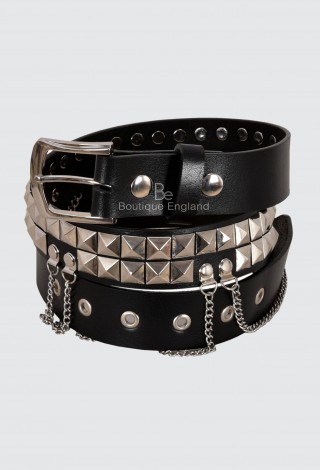 Men's Black Leather 2 Row Pyramid Studded Belt 40mm Press Stud Chained Gothic 620