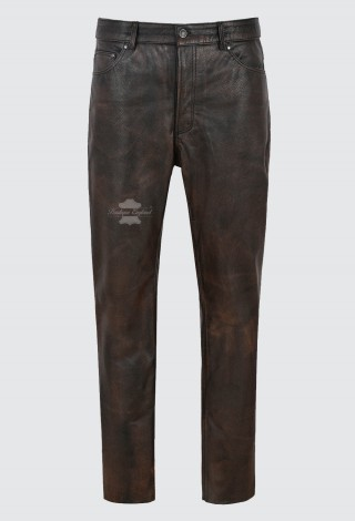 Men's Leather Pants Biker Trouser Black Bronze Jeans Style Cowhide Leather 501