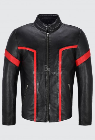 Men's Biker Leather Jacket Black With Red Stripe Stand Up Collar Lambskin 6810