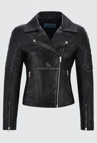 Ladies Quilted Leather Jacket Black Biker Style Motorcycle Soft Lambskin 1075