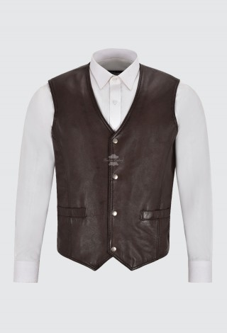 Men's Leather Waistcoat Gilet Formal Classic Brown Real Leather Biker Vest 1118