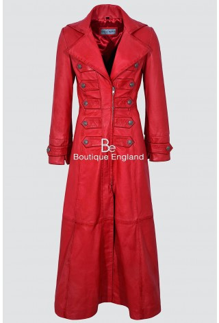 Ladies New 3490 Red Napa sheep Leather Full-Length Long Goth Coat Rock Jacket