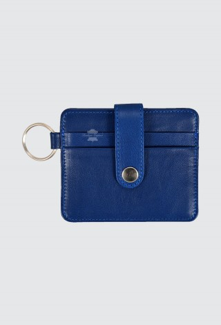 Small Pouch Credit Card Case Unisex Real Blue Leather Slim Card Wallet with Key Chain 1456