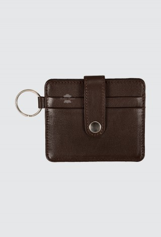 Small Pouch Credit Card Case Unisex Brown Real Leather Slim Card Wallet with Key Chain 1456