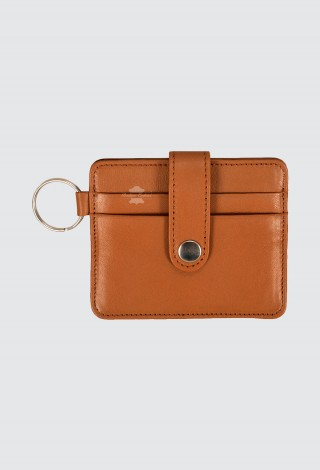 Small Pouch Credit Card Case Unisex Tan Real Leather Slim Card Wallet with Key Chain 1456