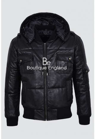 'THE PILOT SIX PUFFER BLACK' Men's Hooded Bomber Genuine Real Leather Jacket