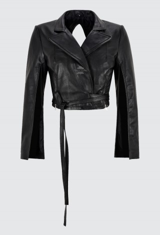 Ladies Tie Belt Cropped Jacket Black Gothic Slit Arm & Back Real Leather Jacket 4209