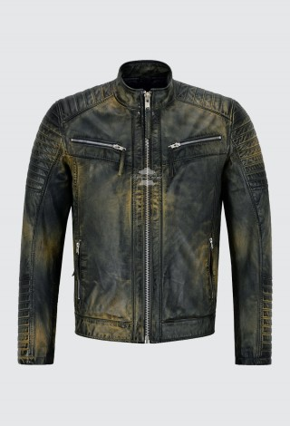 Men's RACER Leather Jacket Navy Rust Beige Quilted Shoulder Biker Style 2565