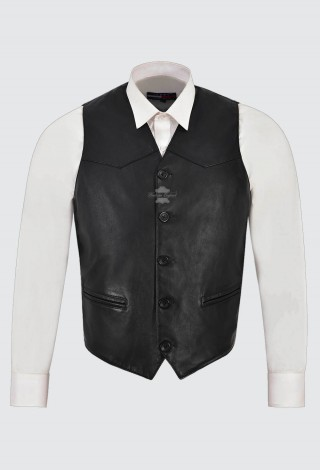 Men's Leather Waistcoat Black Classic Real Lambskin ITALIAN FITTED Design ZARA