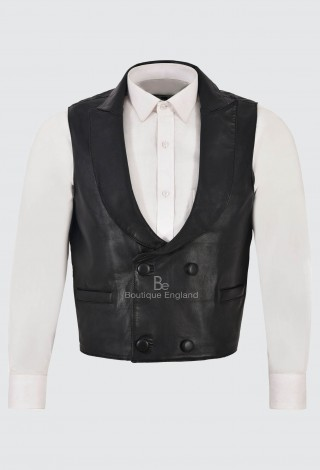 EDWARDIAN Men's Leather Waistcoat Fabric Back Black Steampunk Real Lambskin 3281