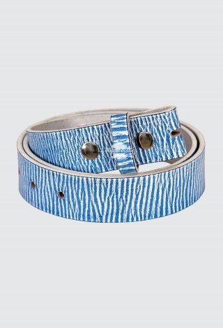 Men's White Blue Textured Cow Hide Leather Belt Strap Press Stud 40mm Waxed Texture 610