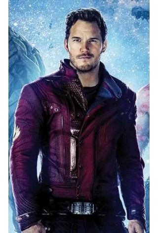 Guardians Of Galaxy 2 Movies Inspired Men's Jacket Star Lord Chris Pratt Maroon Petter Quil 100% Real Leather 4095
