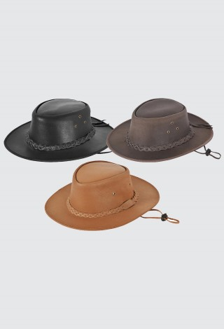 Australian Western style Cowboy Hat Outback Real Leather with Chin Strap Hat