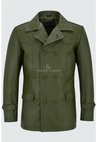 Men's Cowhide Real Leather Coat Khaki WW2 Inspired Double Breasted Style Dr-Who