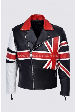 Men's BRANDO UNION JACK Motorcycle BRITISH FLAG Biker Hide Real Leather Jacket