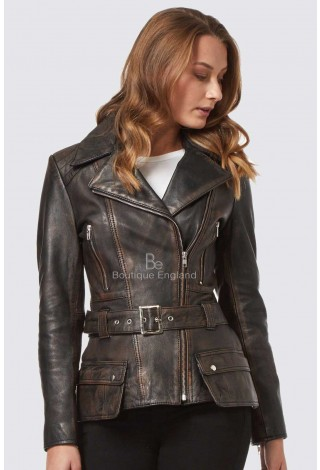 ALICIA Black Rub Off Ladies Trench Coat Motorbike Style Designer Real Lambskin Leather Jacket 2812