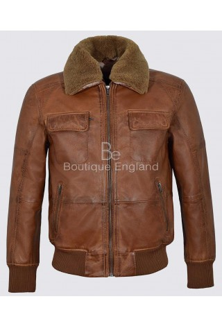 Men's AIR FORCE Tan Ginger Fur Collar BOMBER Style Real Napa Leather Jacket 6446