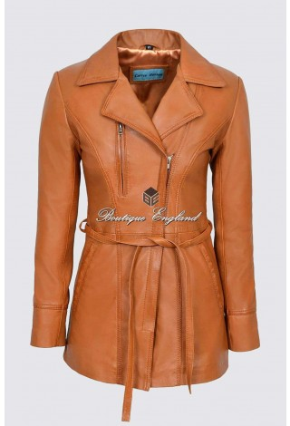 'SABRINA' Ladies TAN Classic Hip-Length Belt Designer Real Lambskin Leather Jacket Coat