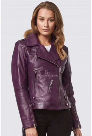 'ROSE' Ladies Purple WASHED Designer Motorcycle Biker Style Real Leather Jacket 5816