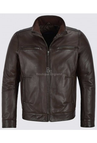 Bruce Will Men's Brown Real Leather Jacket Fitted Classic Collar Fashion Soft Lambskin 999