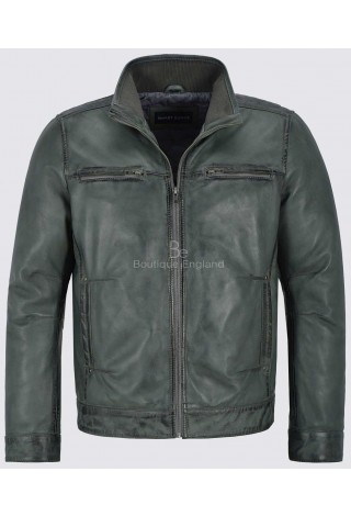 Bruce Will Men's Grey Real Leather Jacket Fitted Classic Collar Fashion Soft Lambskin 999