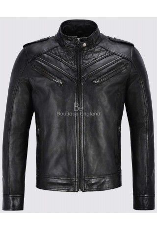 Men's Leather Jacket Black Biker Quilted Italian 100% REAL LEATHER JACKET 2414