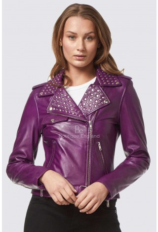 Ladies DOMINO PURPLE Rockstar Women's Real Studded Leather Biker Jacket 4326