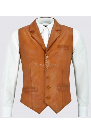 Men's Real Leather Waistcoat Party Fashion Tan Napa Casual Business Suit Vest 1349