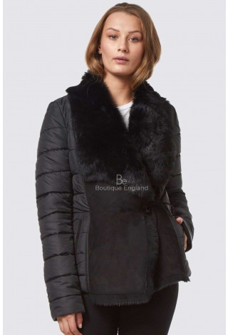 Kate Women's New Tuscana Jacket Sheepskin Shealing Fashion Black Quilted Material Jacket