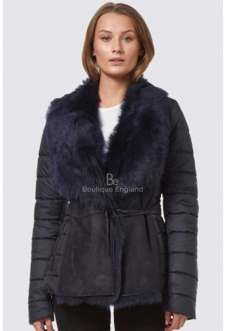 Helen LadiesTuscana Jacket Sheepskin Shearling Fashion Navy Quilted Material