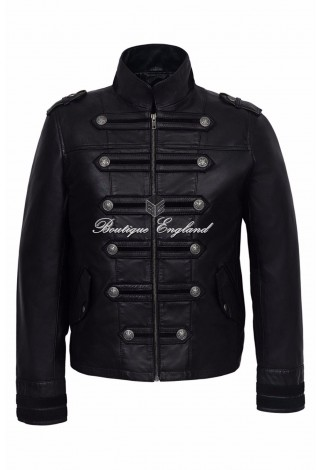'BATTALION' Mens Leather Jacket BLACK Military Style Studed |100% REAL NAPA 2212
