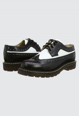 Grinders Bertrum Black White Unisex American Brogue Lace up Real Leather Shoes