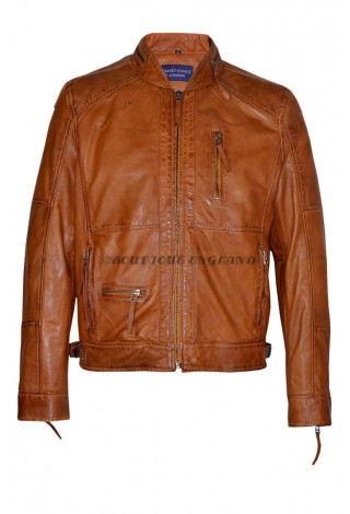 Men's Classic Style Tan ZipCollar Designer Wax Casual Soft Leather Jacket 9056