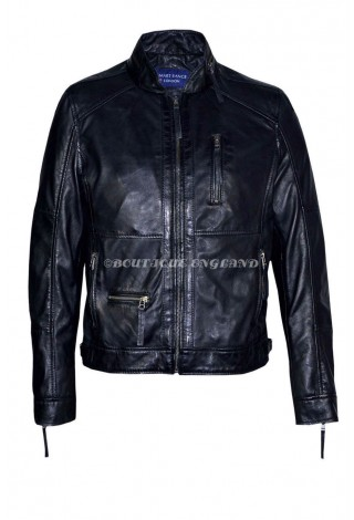 Men's Classic Style Black ZipCollar Designer Wax Casual Soft Leather Jacket 9056