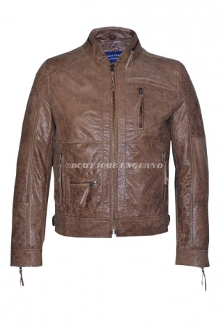 Men's Classic Style Old Brown Zip Collar Designer Wax Casual Soft Leather Jacket 9056